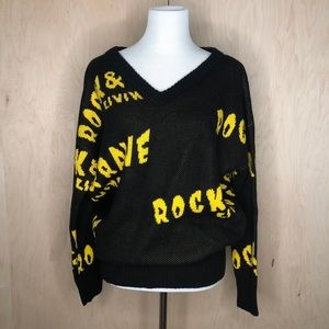 Peacebird Graphic Text Sweater